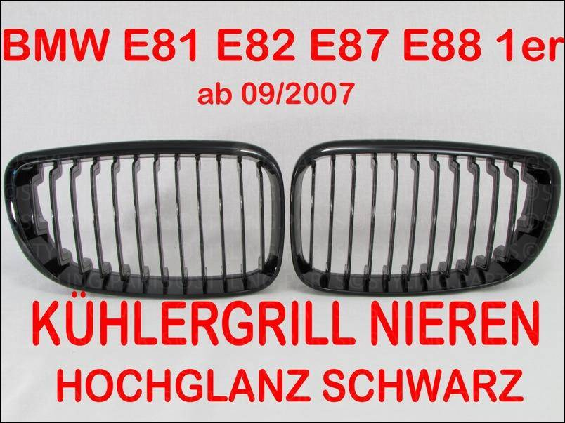 bmw 1 er e81 e87 nieren grill facelift schwarz shadow. Black Bedroom Furniture Sets. Home Design Ideas