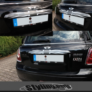 Passend für MINI ONE COOPER R56 R57 Cabri R58 Roadster R59 KOFFERRAUMLEISTE UNION JACK BLACK