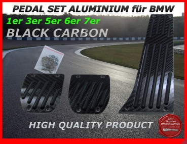 Fit for BMW PEDALS FOR MANUAL GEAR in Aluminium with black Carbon look