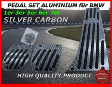 Fit on BMW PEDALS FOR MANUAL GEAR in Aluminium with black Carbon look