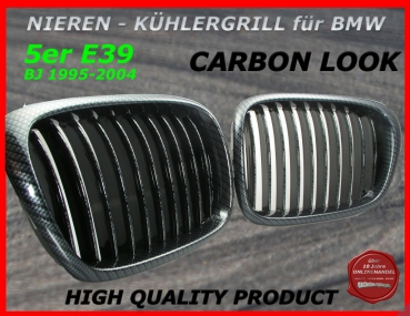 Fit on BMW Grille Carbon Look 5er E39 95-04