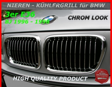 Fit on BMW Front Grille Chrome E36 '96-'98
