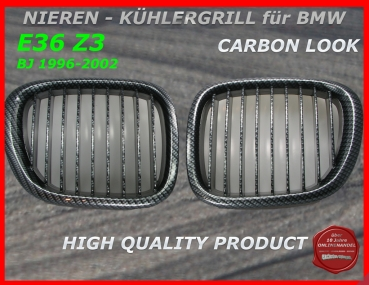 fit on BMW Grille Carbon Look Z3 96-02