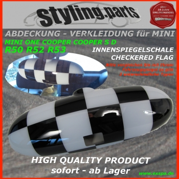 Passend für MINI Innenspiegel Chequered Flag R50 R52 R53