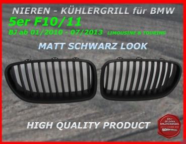 Fit on BMW F10 LIMOUSINE F11 TOURING from 01/2010-07/2013 5er GRILL BLACK