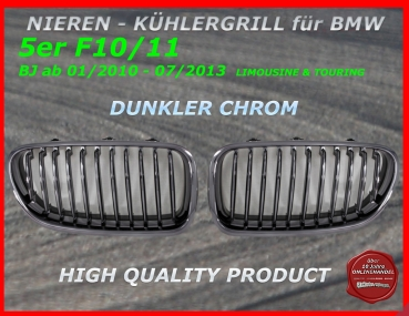 Fit on BMW Grill dark Chrome 5er F10 F11 01/10-07/13
