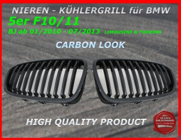 Fit on BMW Grill dark Chrome 5er F10 F11 ab 01/10-07/13