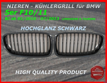 Fit on BMW Grill glossy black 5er F10 F11 ab 01/10-07/13