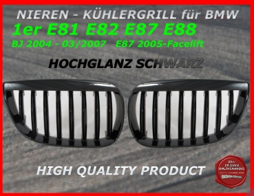 Fit on BMW Grill glossy black 1er E81 E87 09/2007-