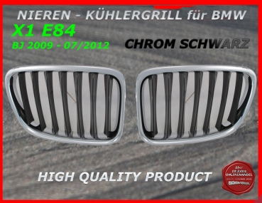 Fit on BMW Grill black chrome X1 E84 2009-