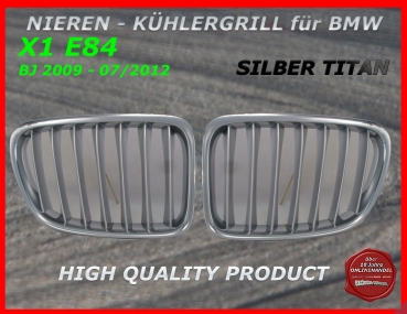 Fit on BMW Grill Chrome Titan - Silver X1 E84 2009-