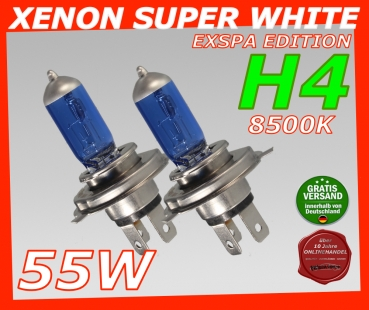 H4 8500K 55W Xenon Look Halogen Birnen SUPER White