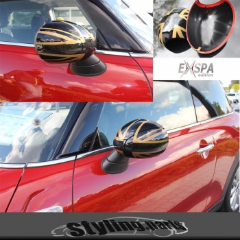 MINI F55 F56 Mirror Covers UNION JACK GOLD