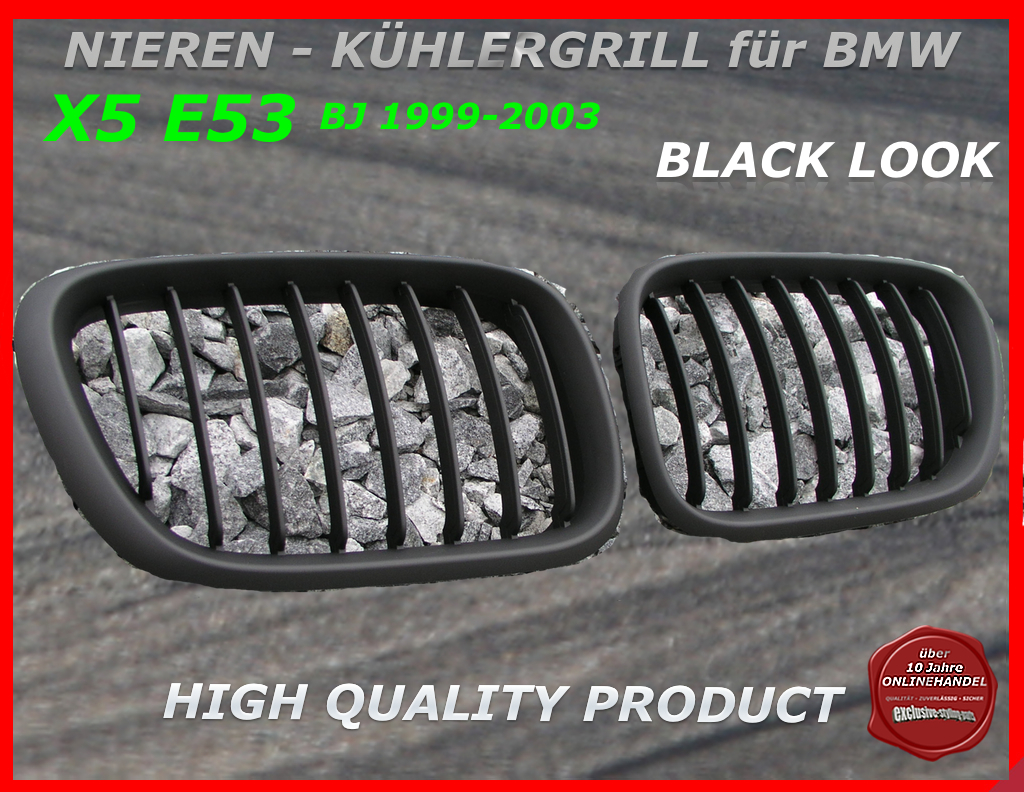 bmw nieren k hlergrill schwarz x5 e53 1999 03. Black Bedroom Furniture Sets. Home Design Ideas