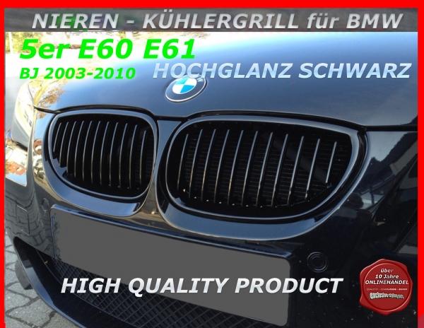 03-10 Schwarz Hochglanz Nieren Kühlergrill 5er BMW E60 E61 Limo Touring Bj