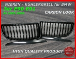Fit on BMW Grille Carbon Look 3er E90 E91 2005-2008