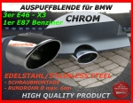 Fit on BMW Tail Pipe Stainless Steel 3er E46 1er E87 X3 E83