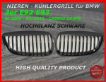 Fit on BMW Grill Glossy Black 3er E92 E93 ab 03/2010
