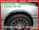 MERCEDES W202 C-KLASSE 4piece Fender Arches Trim Chrom