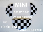 Fit on MINI Handle for Interior Glove Box & Door Opener CHEQUERED FLAG DESIGN R55 R56 R57 R58 R59