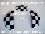 MINI Türgriffe/Handschuhfach innen Checkered Flag Design R55 R56 R57 R58 R59